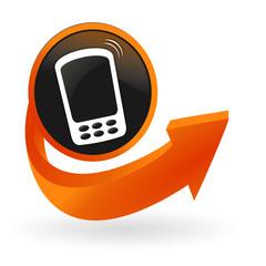 téléphone portable sur web bouton flèche orange