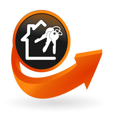 immobilier sur web bouton flèche orange
