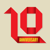 10 years anniversary ribbon, vector