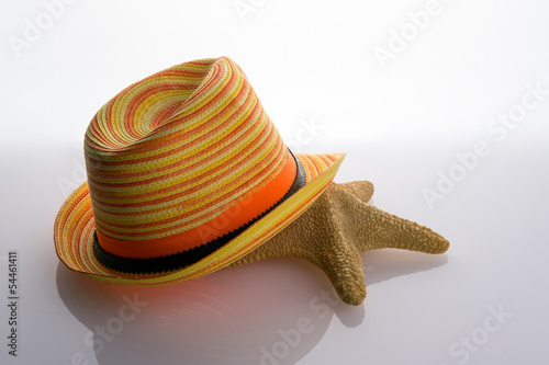Straw hat and starfish