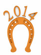2014 new year of the horse. inscription with the  horseshoe