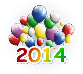 happy new year 2014 with balloons