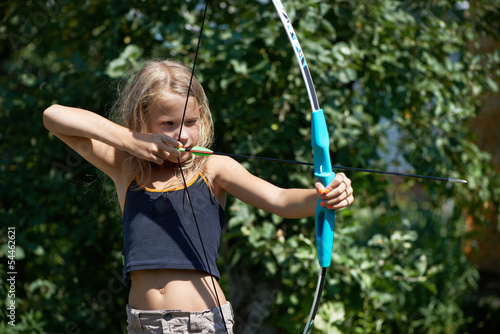 Girl aim with bow