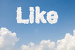 Like concept text in clouds