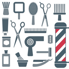 Barber and hairdresser silhouette icons set 4