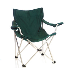 Green folding lawn chair on white