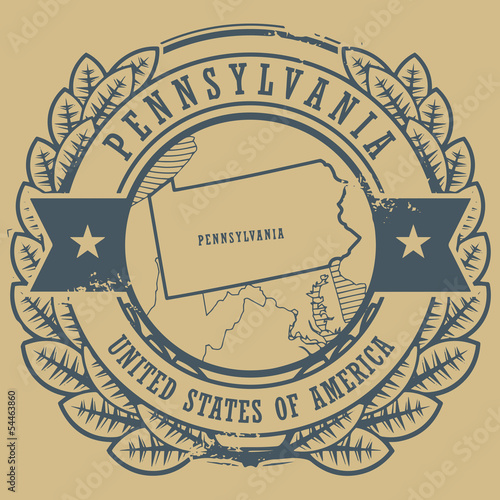 Stamp with name and map of Pennsylvania, USA, vector
