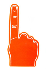 Foam fan finger on a white background