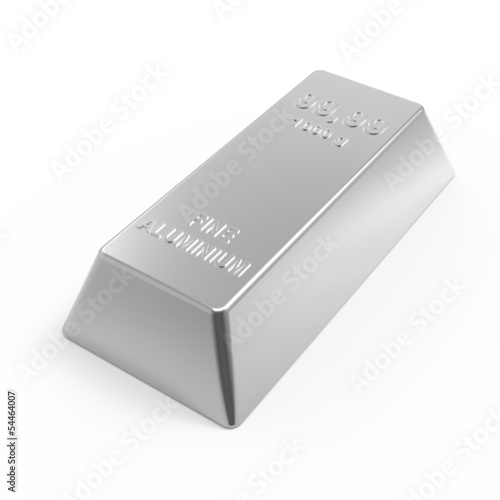 Aluminium ingot isolated on white. 3D photo rendering.