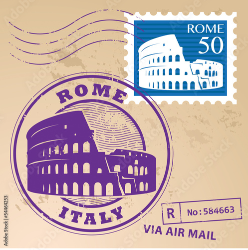 Stamp set with text Rome, Italy inside, vector illustration