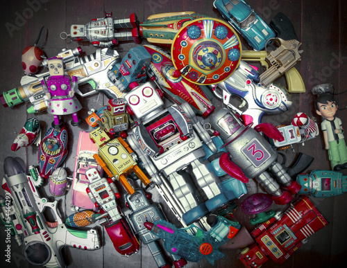 Foto op Canvas lots of tin toys