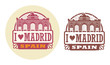 Stamp set with words Love Madrid, Spain inside, vector