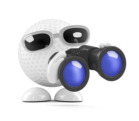 Golfball is looking through binoculars