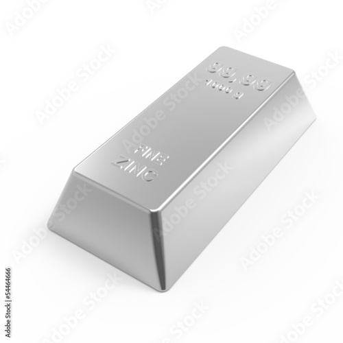 Zinc ingot isolated on white. 3D photo rendering.
