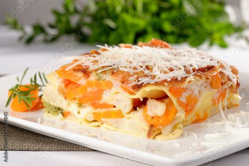 Vegetarian lasagna with eggplant, courgette, sweet potatoes