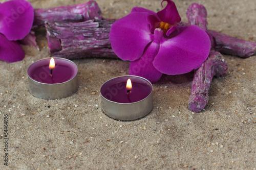 Teelichter mit Orchiseenblüte