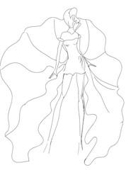 Sketch bianco nero modella