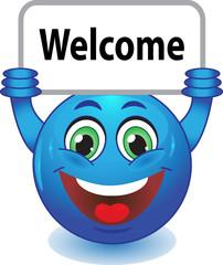 Смайлик с табличкой Welcome