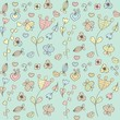 Abstract floral background with hearts and flowers