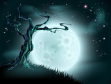 Blue Halloween Moon Tree Background