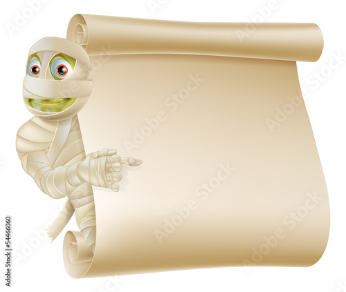 Mummy Halloween Monster Scroll Sign