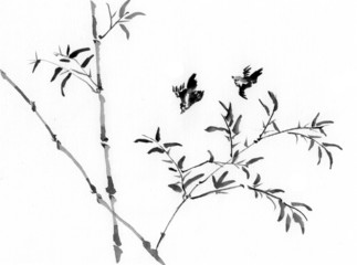 china painting bamboo and bird