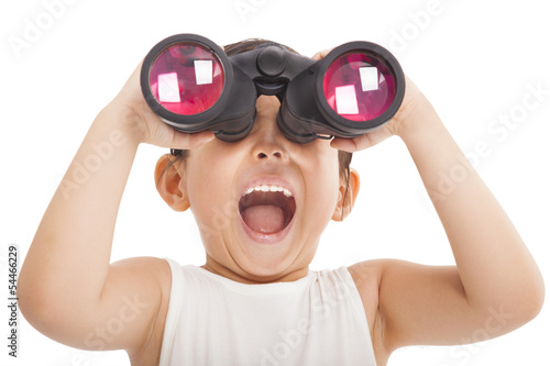 Happy kid with binoculars