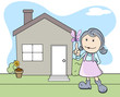 Girl Outside the House - Butterfly - Kids - Vector Illustration