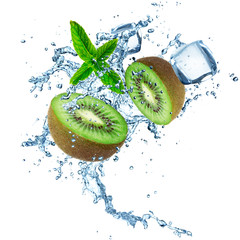 Kiwi with water splash