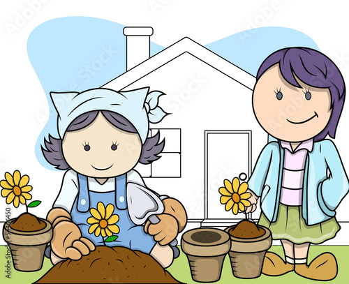 Gardening Hobby - Kids - Vector Illustration