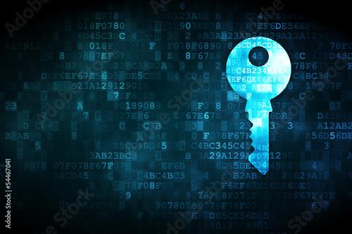 Pojęcie ochrony: klucz na tle cyfrowy