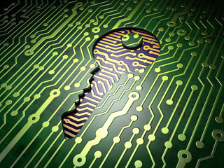 Privacy concept: Key on circuit board background