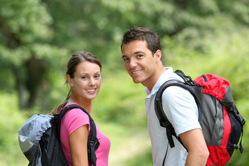 Portrait of happy couple on a trekking day