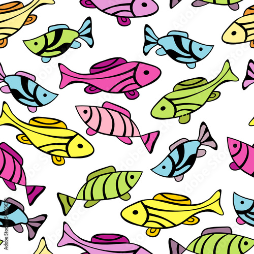 Seamless pattern with little fishes
