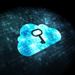 Cloud computing concept: Cloud With Key on digital background