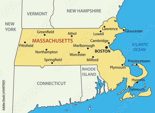 Commonwealth of Massachusetts - vector map