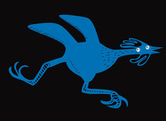 Funny running bird