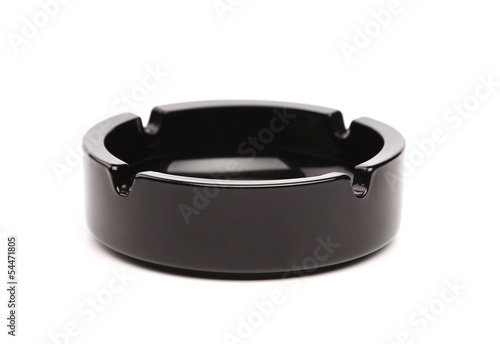 Empty black ceramic ashtray