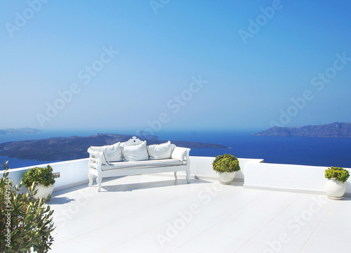 Beautiful wedding decoration on Santorini island