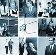 A collage of images with young business people working together