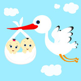 stork and children