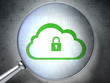 Networking concept:  Cloud With Padlock with optical glass on di