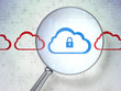 Cloud computing concept: Cloud With Padlock with optical glass o