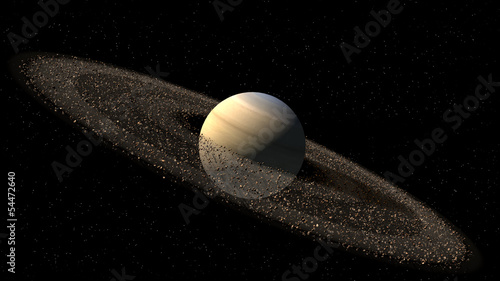 Saturn like planet with asteroid rings with clipping path