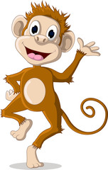 happy monkey cartoon posing