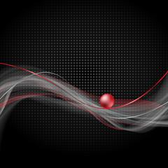 czerwona kula na czarnym tle