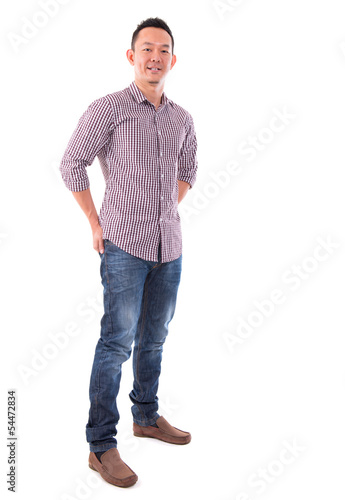 Front view full body confident Asian man