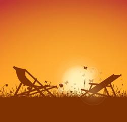 Liegestuhl Sonnenuntergang