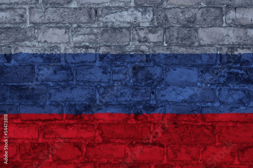 flag of russia graphic on brick background