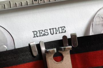 Resume written on old typewriter